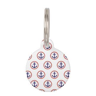 Circled Anchors Nautical Pattern Pet ID Tag