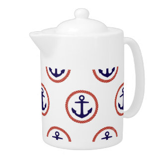 Circled Anchors Nautical Pattern Teapot