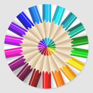 Circled Colored Pencils Classic Round Sticker