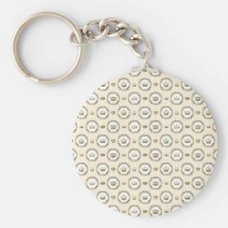 Circled French Crowns on Orange Stripes Basic Round Button Keychain