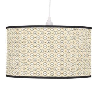 Circled French Crowns on Orange Stripes Hanging Lamp