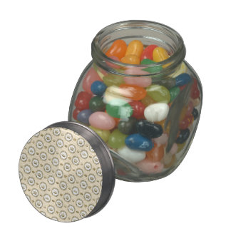 Circled French Crowns on Orange Stripes Jelly Belly Candy Jars