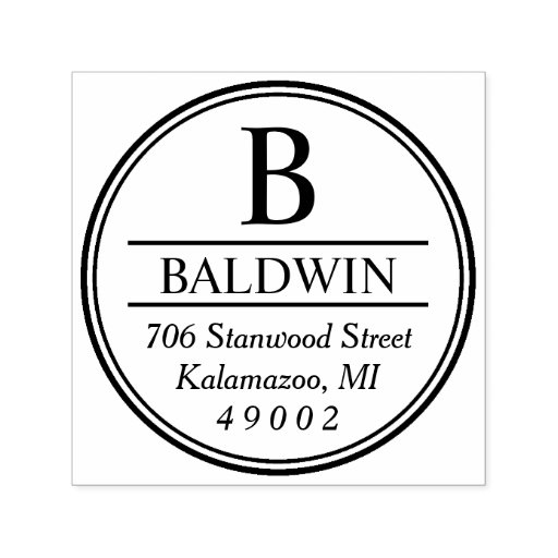 Circled Monogram Return Address Self-inking Stamp