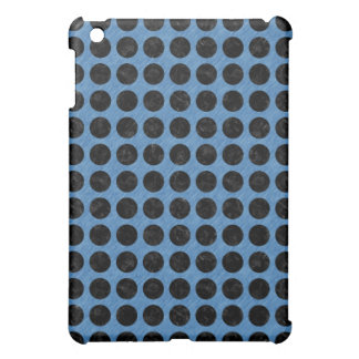 CIRCLES1 BLACK MARBLE & BLUE COLORED PENCIL (R) iPad MINI COVER