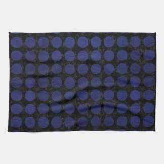 CIRCLES1 BLACK MARBLE & BLUE LEATHER TOWEL
