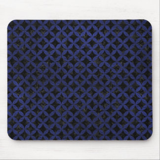 CIRCLES3 BLACK MARBLE & BLUE LEATHER MOUSE PAD