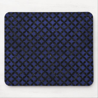 CIRCLES3 BLACK MARBLE & BLUE LEATHER (R) MOUSE PAD