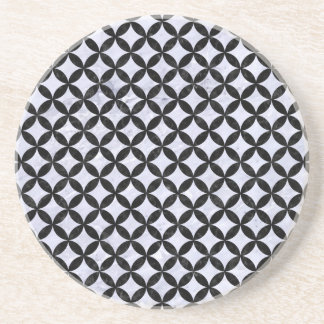 CIRCLES3 BLACK MARBLE & WHITE MARBLE (R) DRINK COASTER