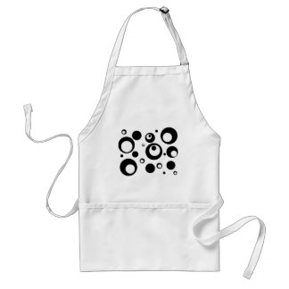 Circles and Dots in Black and White Adult Apron