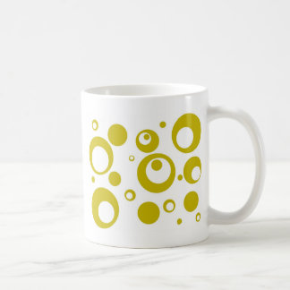 Circles and Dots in Citron Yellow Green Coffee Mug