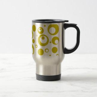 Circles and Dots in Citron Yellow Green Travel Mug