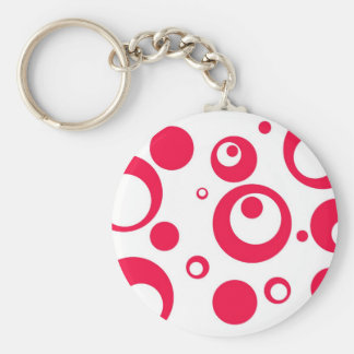 Circles and Dots in Geranium Keychain