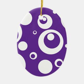 Circles and Dots in Grape Juice Purple Ceramic Ornament