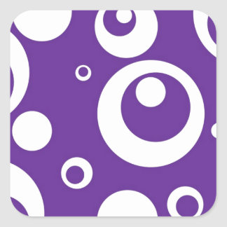 Circles and Dots in Grape Juice Purple Square Sticker