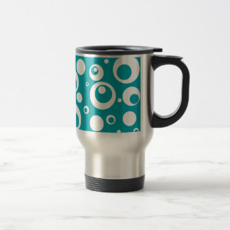 Circles and Dots in Ocean Breeze Turquoise Travel Mug