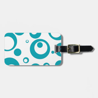 Circles and Dots in Turquoiuse Teal Blue Bag Tag
