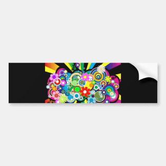 CIRCLES AND FLOWERS_6002524 CAR BUMPER STICKER