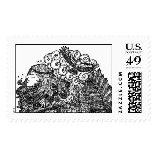 circles and nature postage stamp