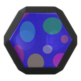 Circles and Ovals on a Blue Background Black Bluetooth Speaker