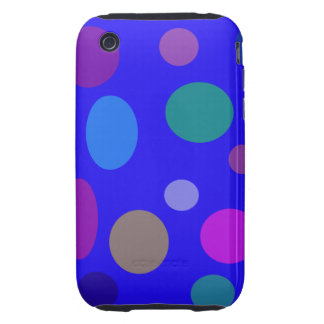 Circles and Ovals on a Blue Background Tough iPhone 3 Cover