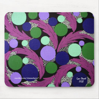 Circles and Pink Feathers Abstract Mouse Pad