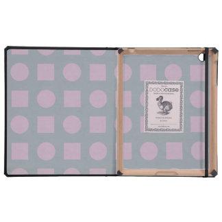 Circles and square purple and grey iPad folio case