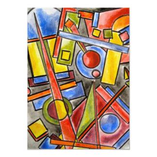 "Circles And Squares - Abstract Art 4.5"" X 6.25"" Invitation Card"