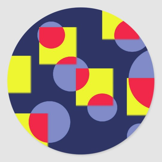 Circles and squares classic round sticker