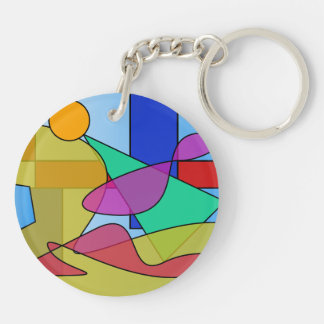 Circles and Squares Floating in a Lake Keychain