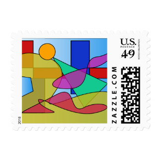 Circles and Squares Floating in a Lake Postage Stamps