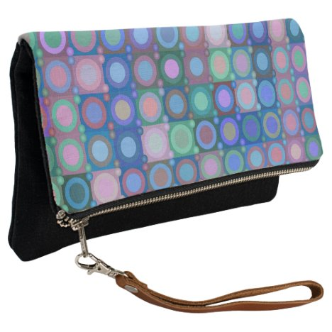 Circles and Squares pattern Clutch purse