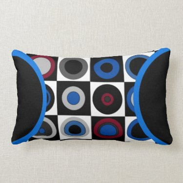 Circles and Squares (Red,Blue,White,Black+Gray) L Pillow