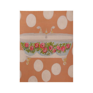 Circles and Suds Bathroom Art Wood Poster