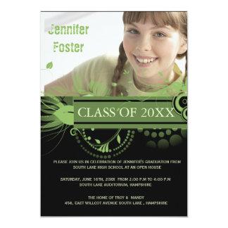 Circles and Swirls -Green Graduation Invites