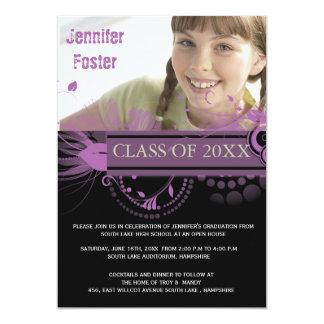 Circles and Swirls -Purple Graduation Invites
