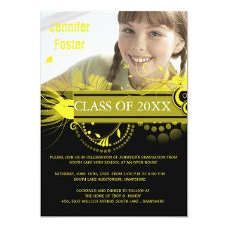 Circles and Swirls -Yellow Graduation Invites