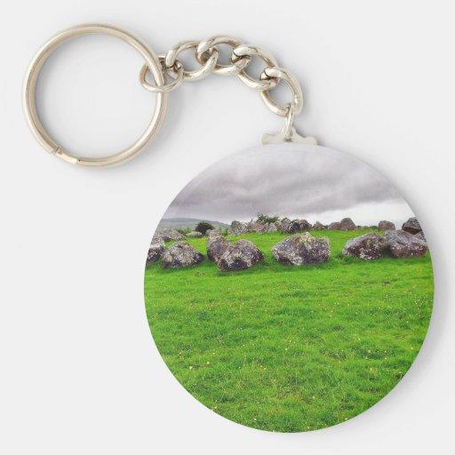 Circles At Carrowmore Keychains