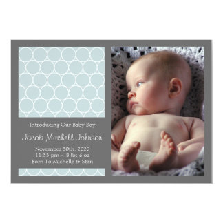 Circles Background New Baby Announcements (Blue)