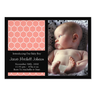 Circles Background New Baby Announcements (Coral)