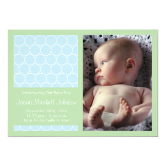 Circles Background New Baby Announcements (Mint)