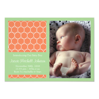 Circles Background New Baby Announcements (Orange)