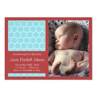Circles Background New Baby Announcements (Teal)
