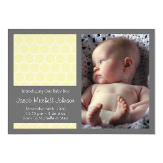 Circles Background New Baby Announcements (Yellow)