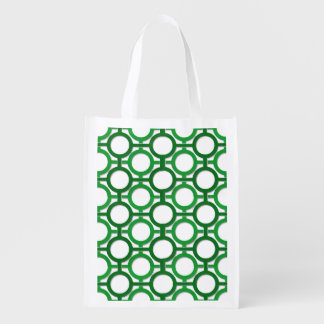 Circles & Bars Trellis Green ANY COLOR BACKGROUND Grocery Bags