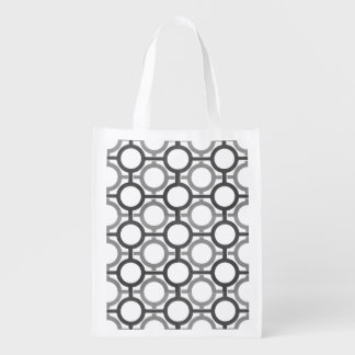 Circles & Bars Trellis Grey ANY COLOR BACKGROUND Reusable Grocery Bag