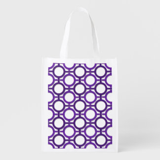 Circles  Bars Trellis Purple ANY COLOR BCKGRND Grocery Bags