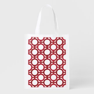 Circles & Bars Trellis Red ANY COLOR BACKGROUND Reusable Grocery Bags