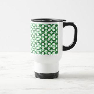 Circles & Bars Trellis Shades of Green Mugs