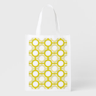 Circles & Bars Trellis Yellow ANY COLOR BACKGROUND Reusable Grocery Bag