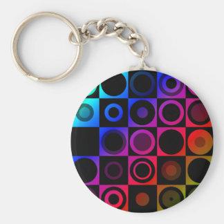 Circles Basic Round Button Keychain